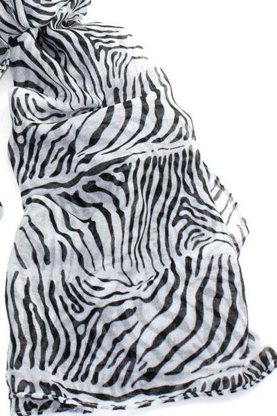 Animal Print Soft Lightweight Patterned Fashion Scarf Women Black White