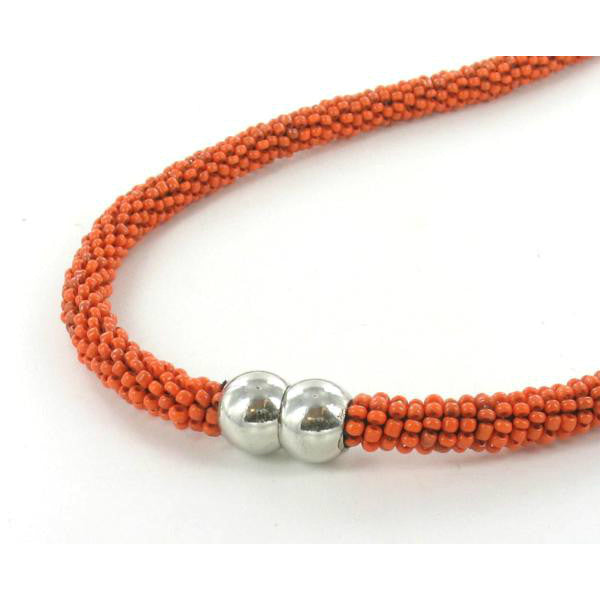 orange beaded necklace with magnetic clasp