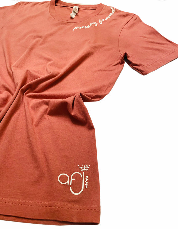 Mauve and White Pressing Forward T-Shirt