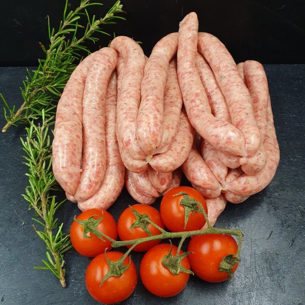 Traditional Festive Handmade Lincolnshire Pork Chipolatas  / available in 2 pack sizes