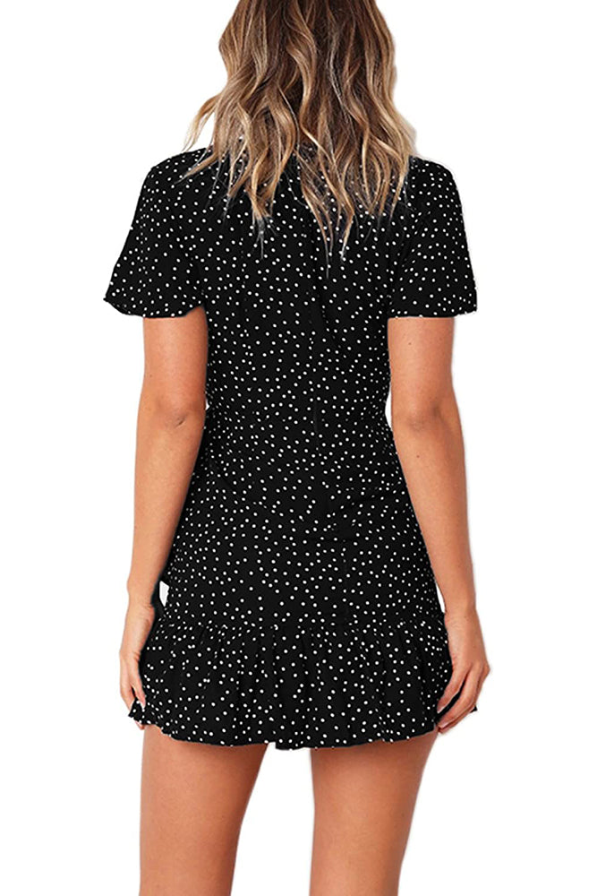 Relipop Summer Print Short Sleeves Cross Wrap Front V Neck Casual Short Dress-Cathy Style