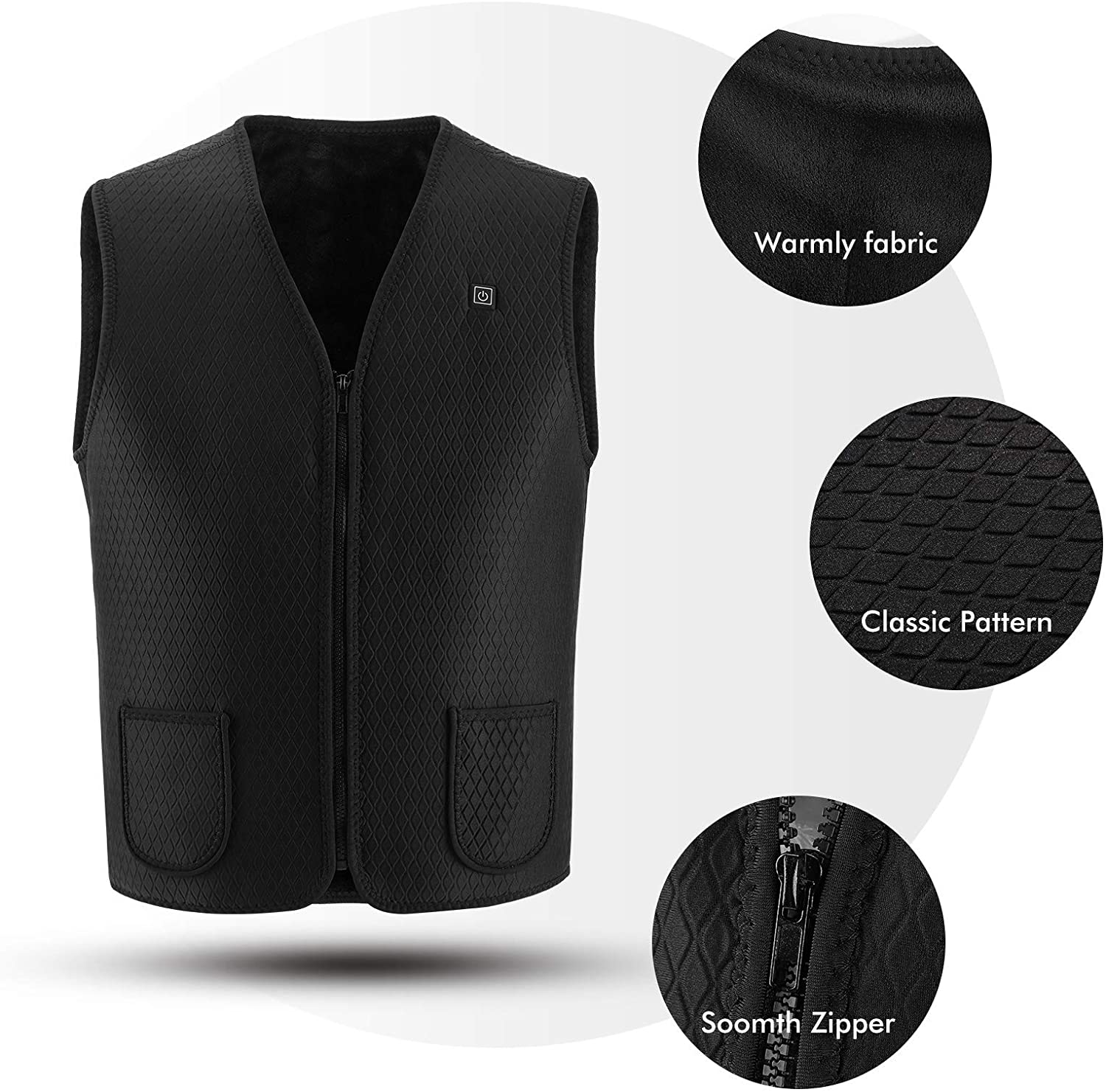 128ve980 Women Men Heated Vest with 10000mAh battery, Washable USB Charging Electric Heated Jacket