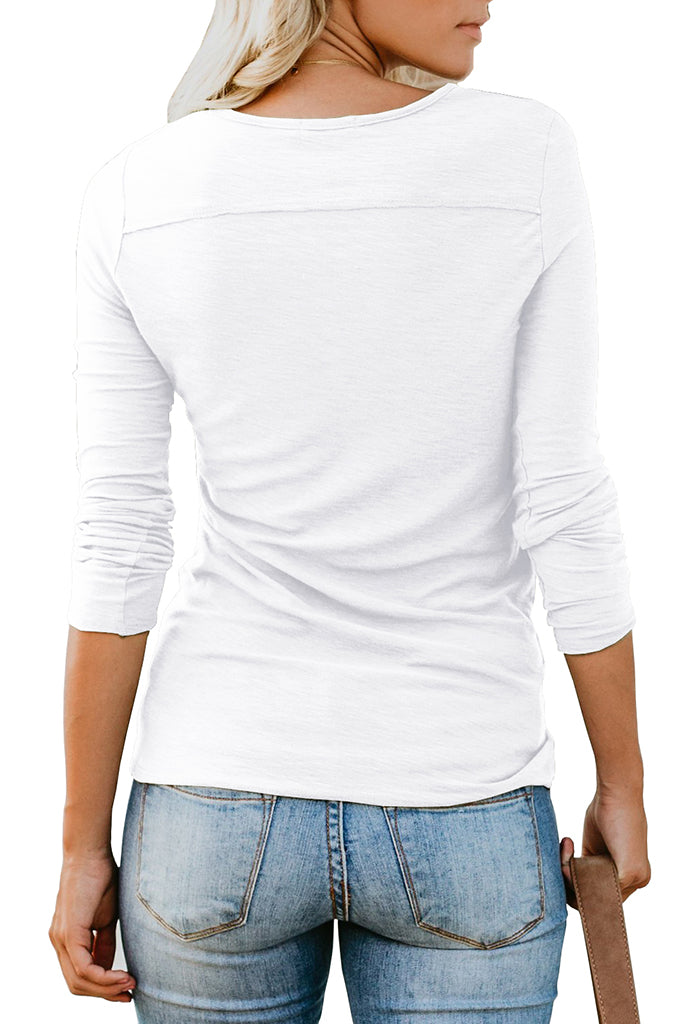 Solid Long Sleeve Henley Button up T Shirt