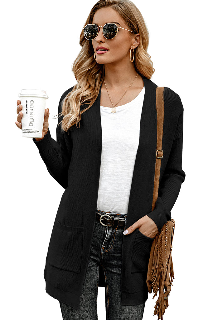 Solid Casual Loose Knit Sweaters Coat Long Sleeve with Pockets
