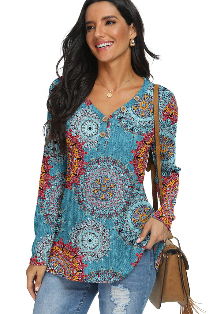 Floral Waffle Knit Button Up Henley Tunic