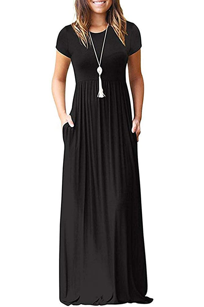Floral Short Sleeves Loose Plain Maxi Dresses Casual Long Dresses with Pockets-Cathy Style