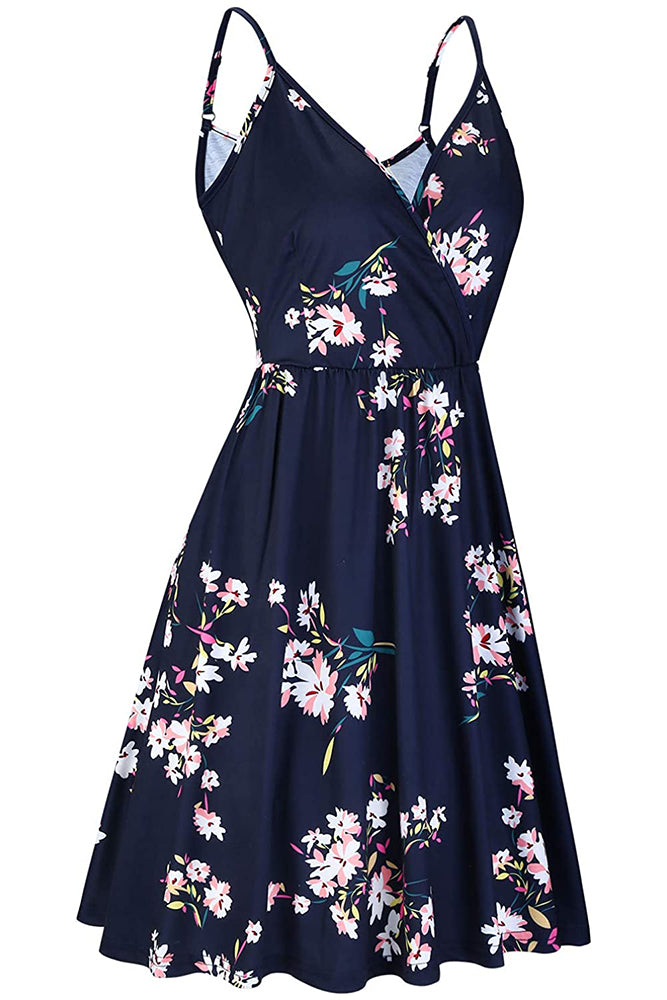 V Neck Floral Spaghetti-Strapped Summer Casual Swing Dress with Pockets