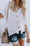 Loose Blouse Short Sleeve V Neck Button Down T Shirt Tie Front Knot Casual Tops