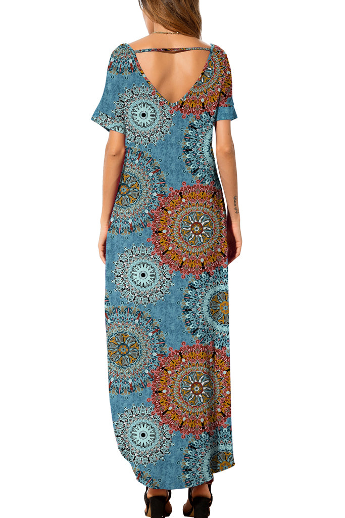 Casual Loose Pocket Long Dress Short Sleeve Split Maxi Dresses Foral Blue