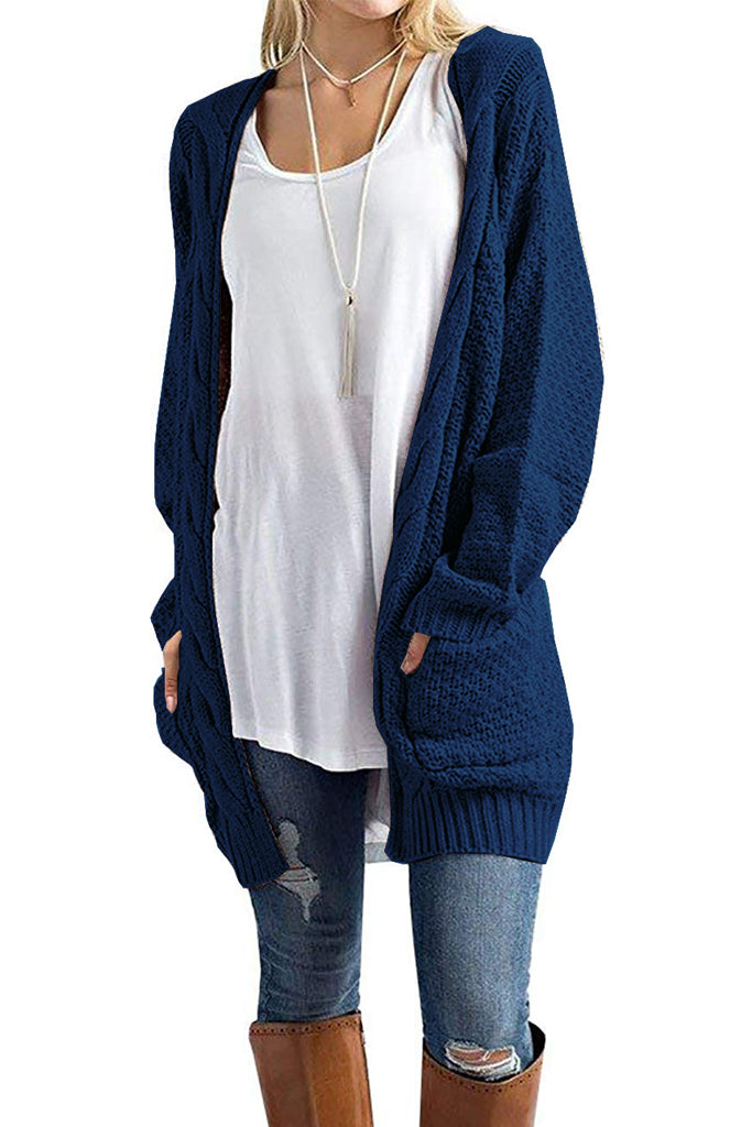 Loose Open Front Long Sleeve Solid Color Knit Cardigans Sweater Blouses with Pockets Navy Blue