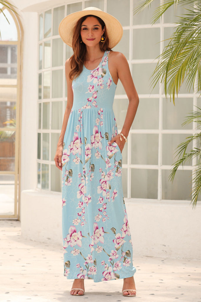 Sleeveless Racerback Loose Plain Maxi Dresses Casual Long Dresses with Pockets Floral Blue