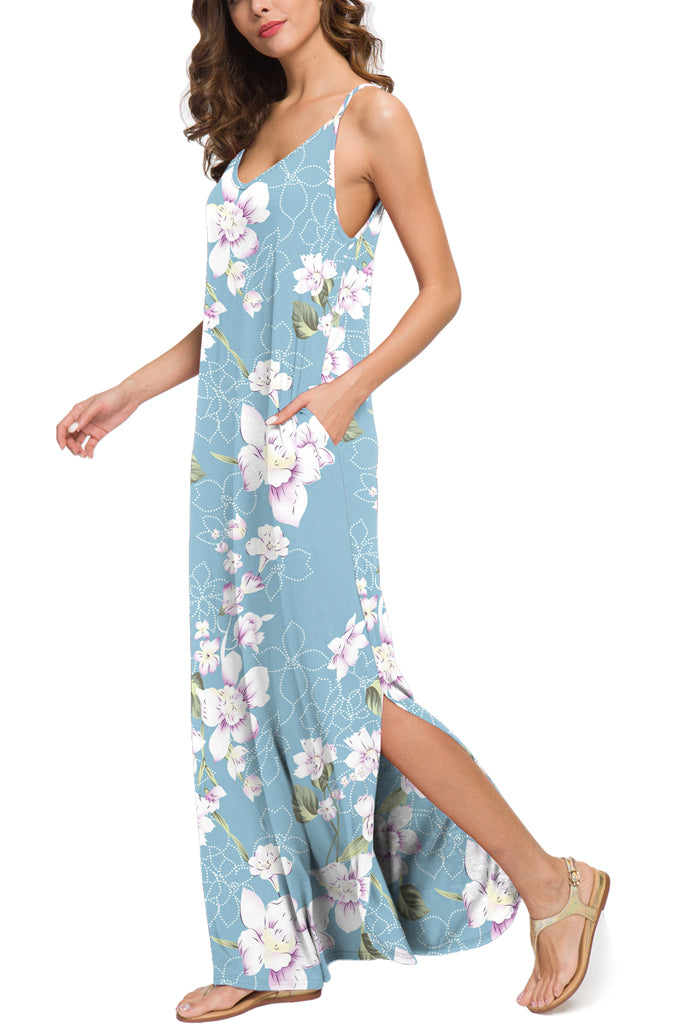 Summer Casual Loose Dress Beach Cover Up Long Cami Maxi Dresses with Pocket Floral