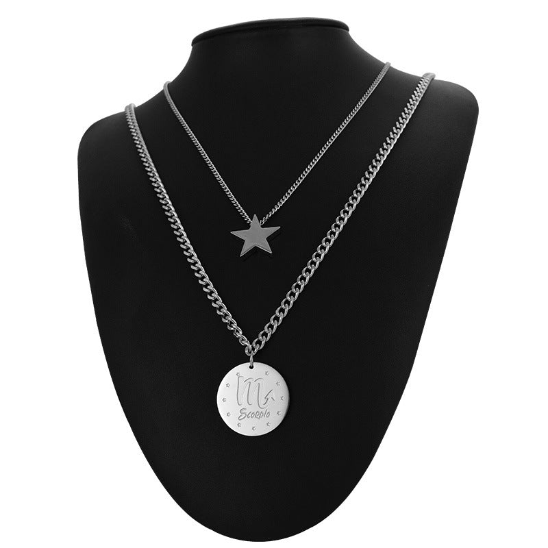 Simple Sweater Necklace Hip Hop Titanium Steel Star Pendant Necklace For Women