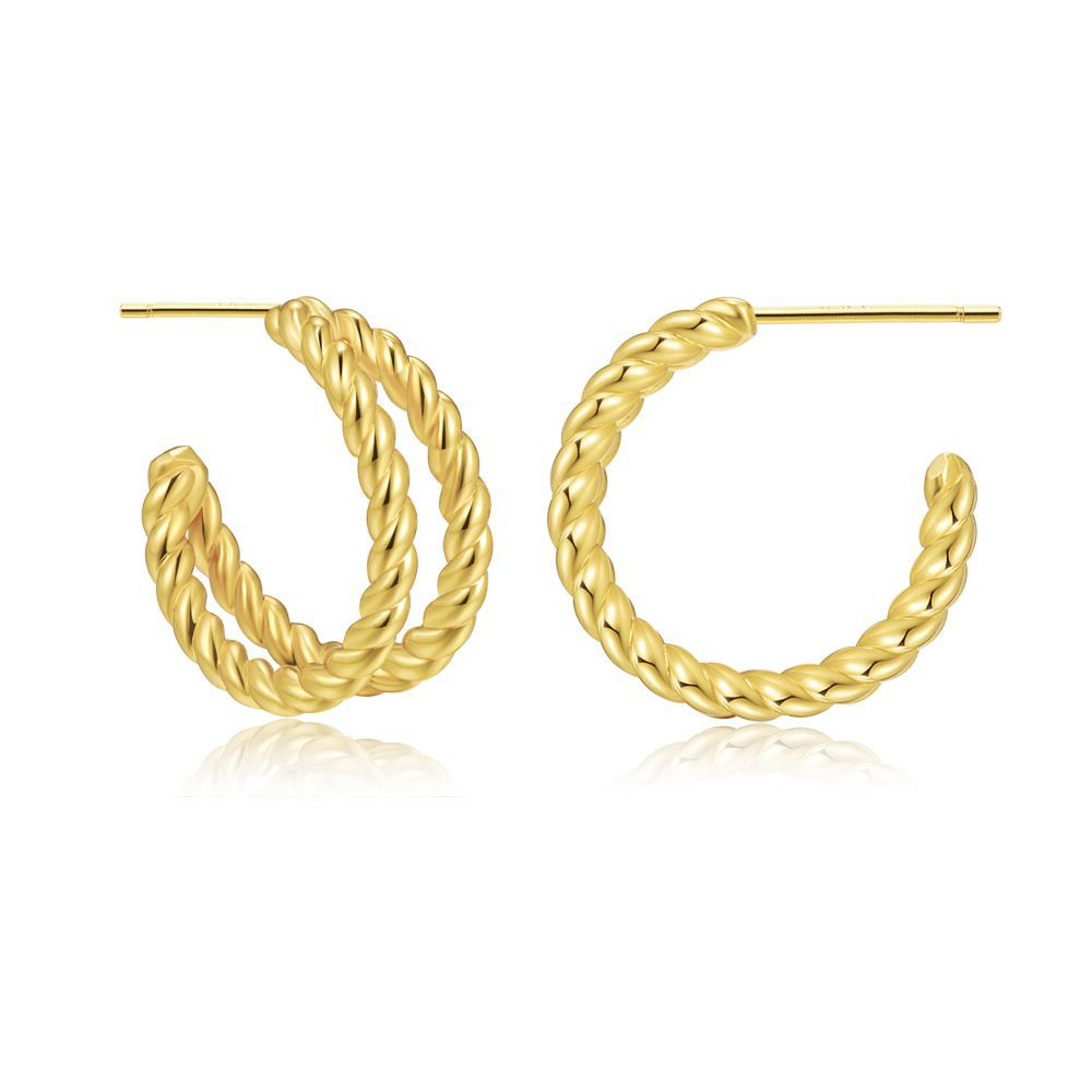 Luxury earrings 18k gold plated double circle brass small hoop earrings