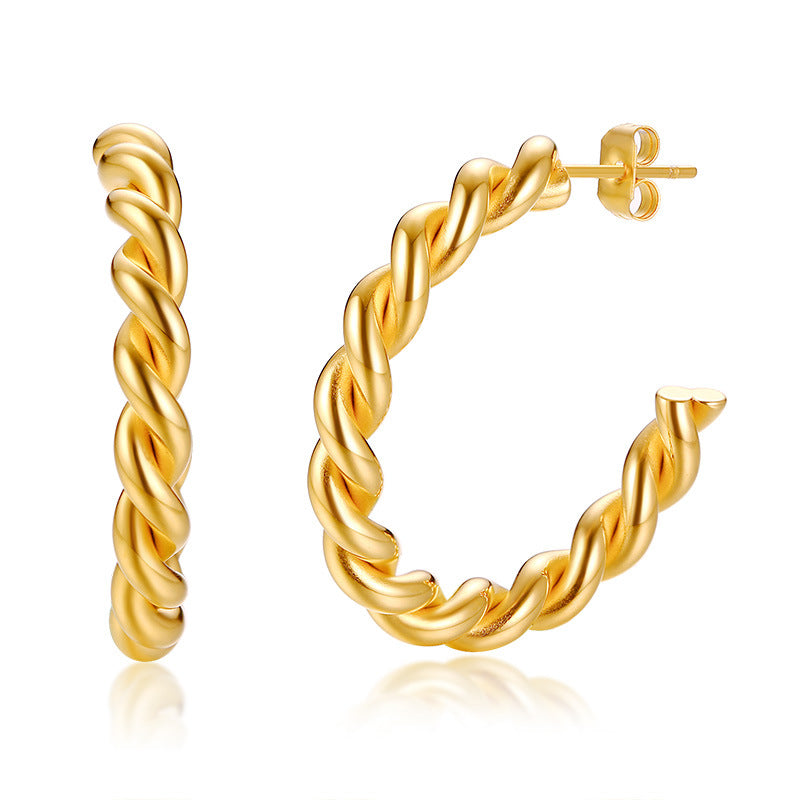 Cuff Earrings Simple 18K Gold Plated Small Stainless Steel New Women Drop Earrings Quality Is High Brass Claw Setting