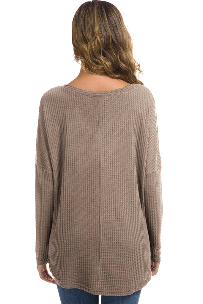 Solid Waffle Knit Tunic Loose Fitting Bat Wing