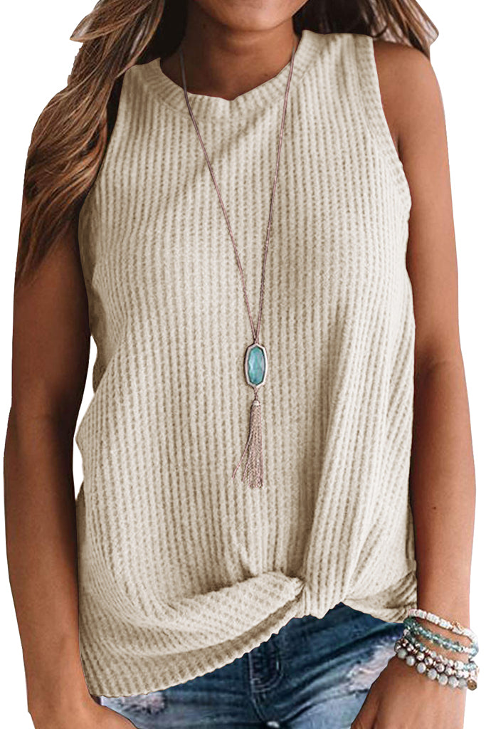 Solid Waffle Knit Tunic Casual Blouse Cute Twist Knot Tank