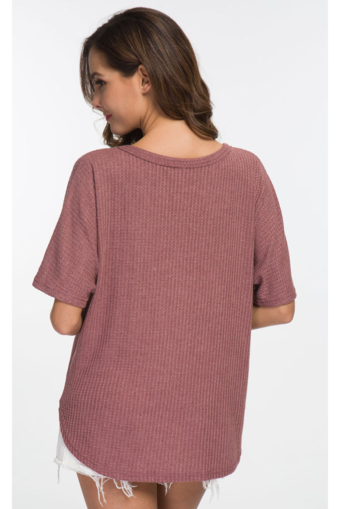 Waffle Knit Tunic Blouse Tie Knot Short Sleeve Henley Tops Loose Fitting Bat Wing Shirts