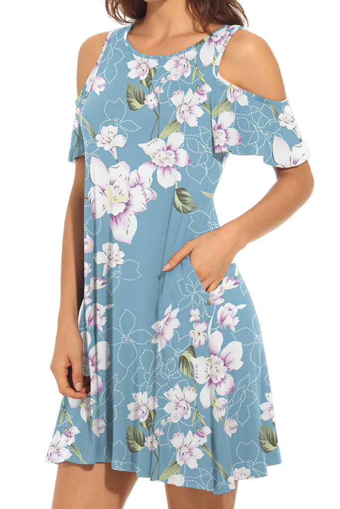 Floral Cold Shoulder Swing Loose Dress with Pockets