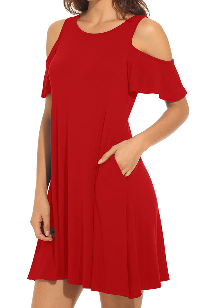 Long Sleeve Cold Shoulder Tunic Top Swing T-Shirt Loose Dress with Pockets Red