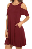 Solid Cold Shoulder Swing Loose Dress with Pockets