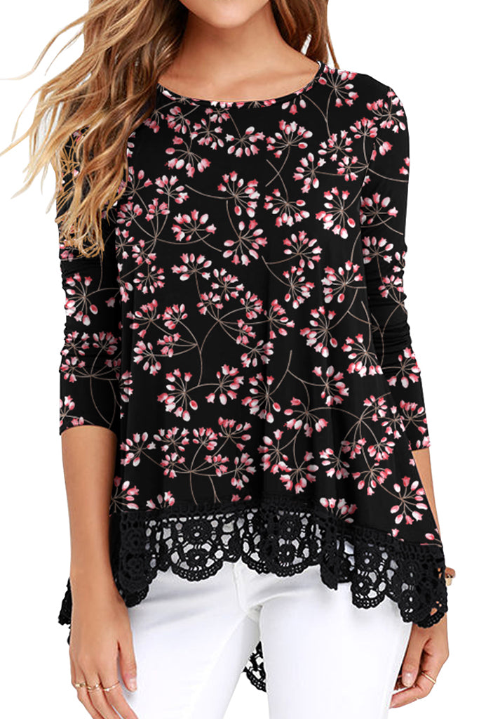 Floral Long Sleeve Lace Trim Round Neck A Line Tunic