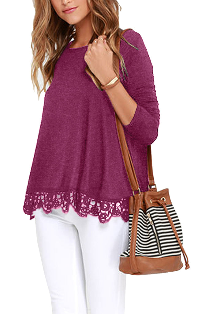 Solid Long Sleeve Lace Trim Round Neck A Line Tunic