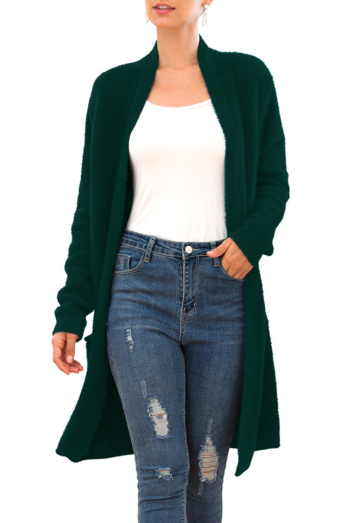 Solid Casual Front Knit Cardigans Plush with Pockets