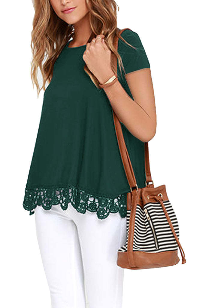 Solid Short Sleeve Lace Trim Round-Neck A Line Tunic