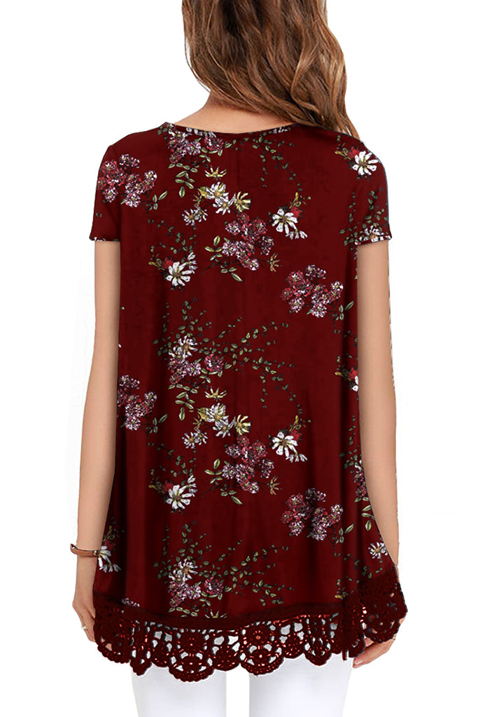 Floral Short Sleeve Lace Trim Round-Neck A Line Tunic