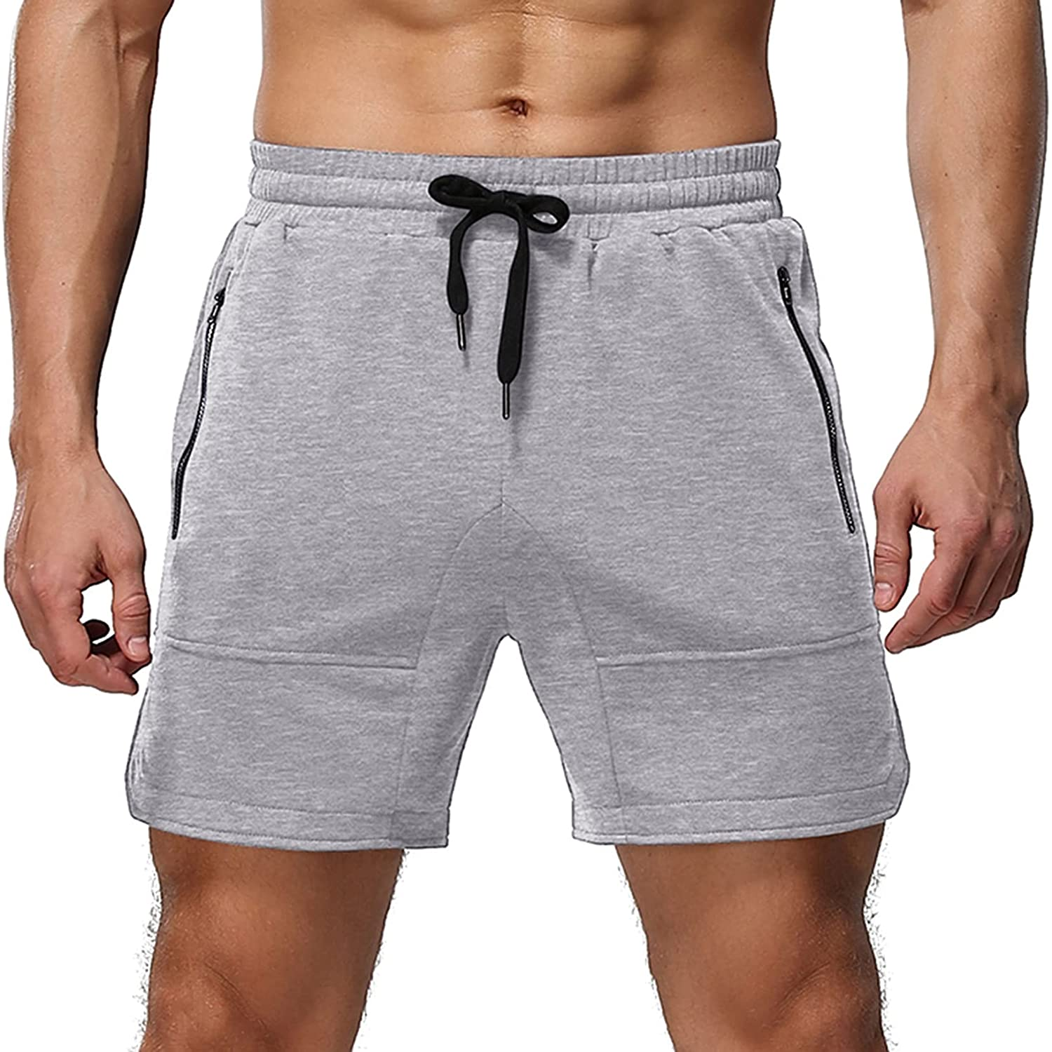 Mens Shorts Casual Elastic Waist Athletic Gym Summer Beach Shorts with Pockets