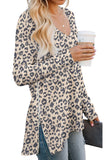 Causal V-Neck Soft Raglan Long Sleeves Tops Basic T-Shirt  with Side Zipper- Animal Printed