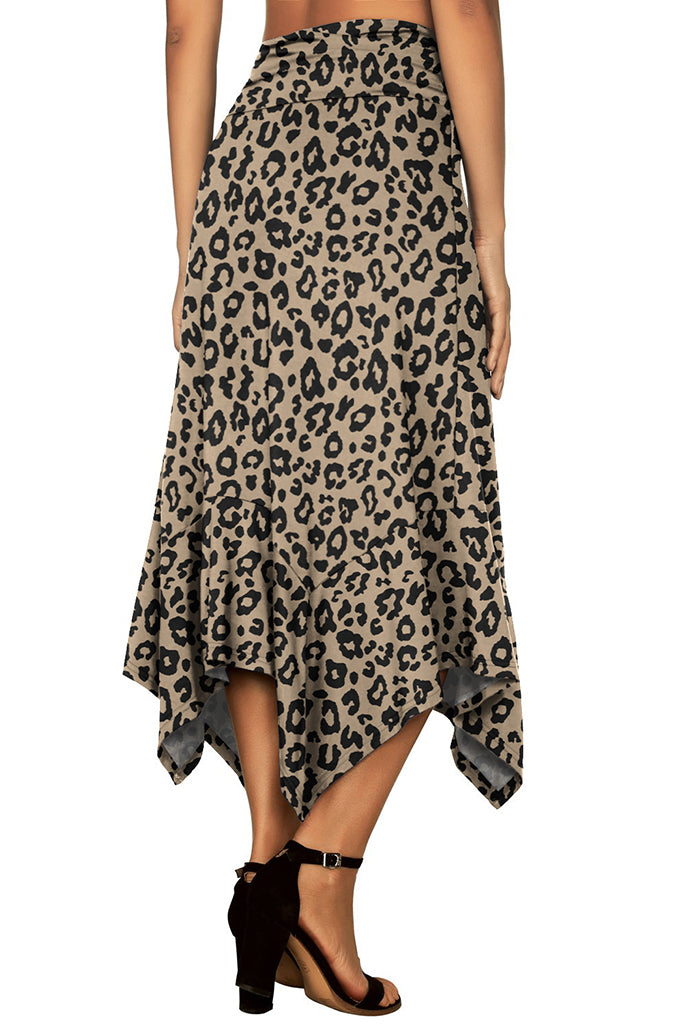 Women's Flowy Handkerchief Hemline Midi Skirt - Animal Print