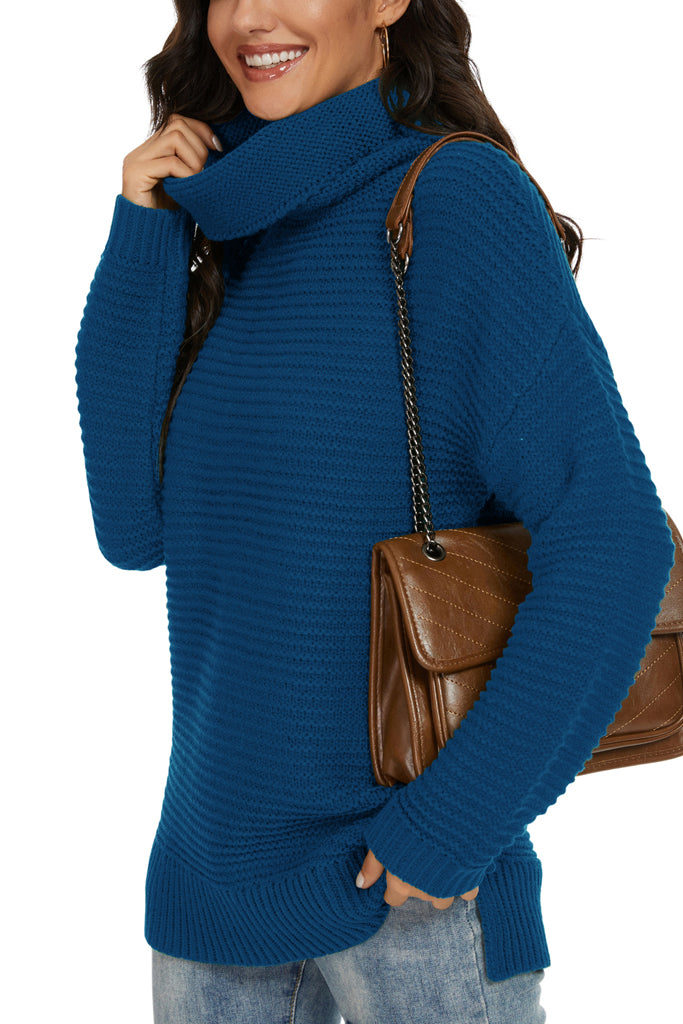 Casual Loose Long Sleeve Turtleneck Chunky Knit Pullover Side Slit Sweater