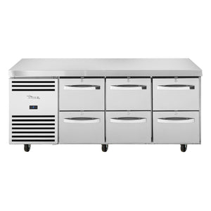 1/1 GN Counter Refrigerator, 6 drawers - TCR1/3-CL-SS-2D-2D-2D