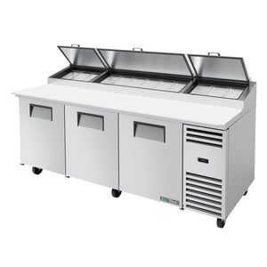 Pizza Prep Table, 3 solid doors - TPP-AT-93-HC