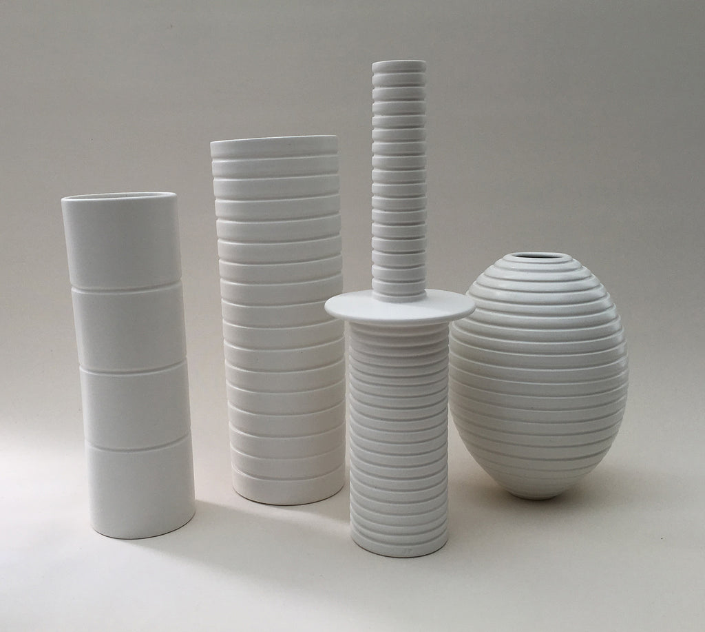 White Grooved Pieces