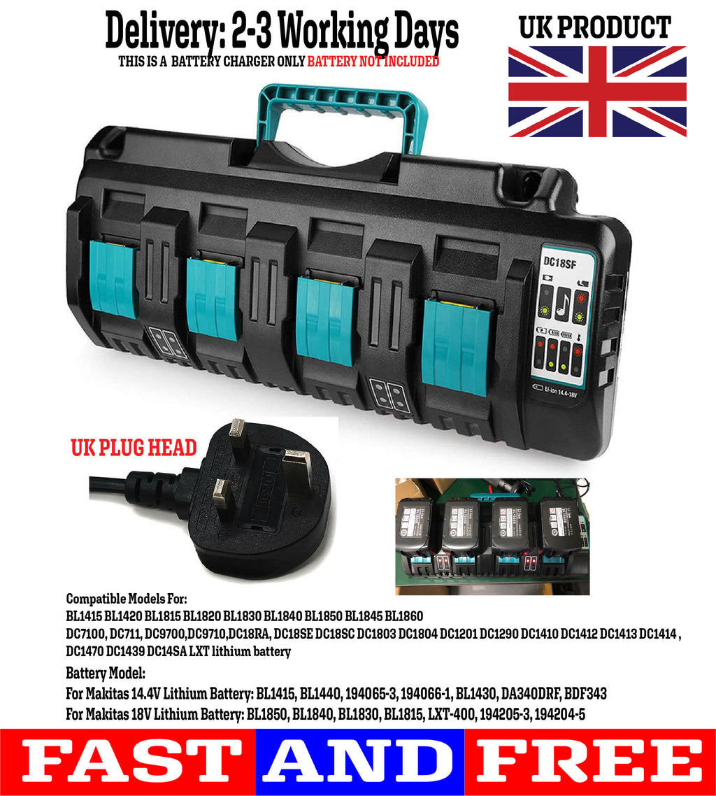 DC18SF RCT 14.4v -18v LXT Li-ion Dual 4 four Port Battery Charger for Makita #3