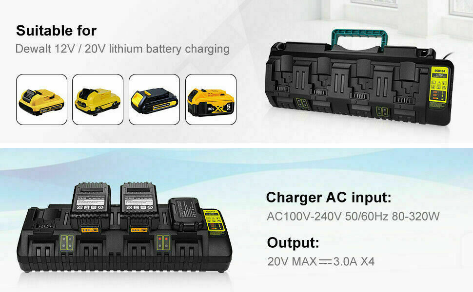DCB104 10.8V 14.V 18V 20V Fast Charger for Dewalts 4 Port Lithium Ion Battery