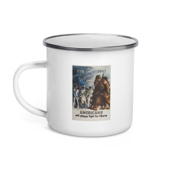 World War II recruiting poster, 1943 (enamel mug)
