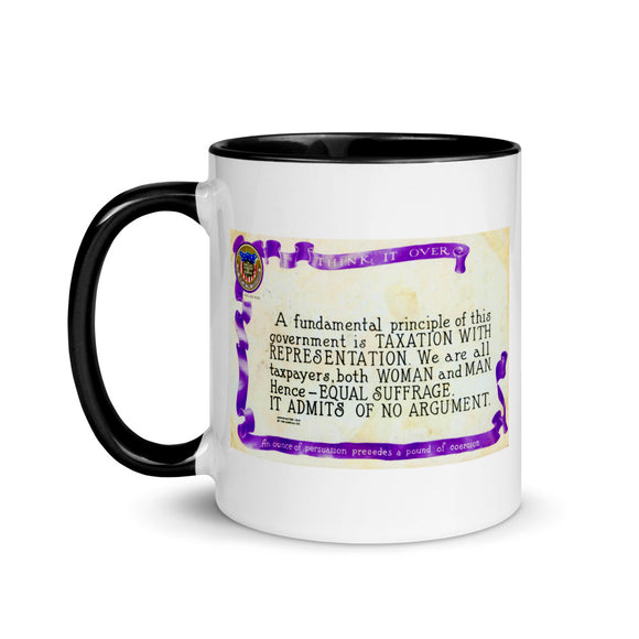 1914 postcard in support of the 19th Amendment (two-color mug)