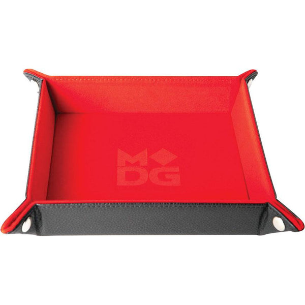 Velvet Folding Dice Tray with Leather Backing: 10in x 10in Red