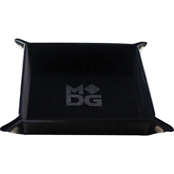 Velvet Folding Dice Tray with Leather Backing: 10in x 10in Black