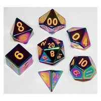Metal Dice Set 16 mm Torched Rainbow