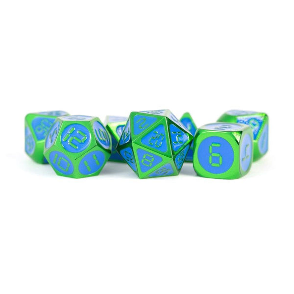 Metal Dice Set 16 mm Green with Blue Enamel