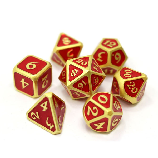 Die Hard 7-Dice Set - Mythica Satin Gold Ruby