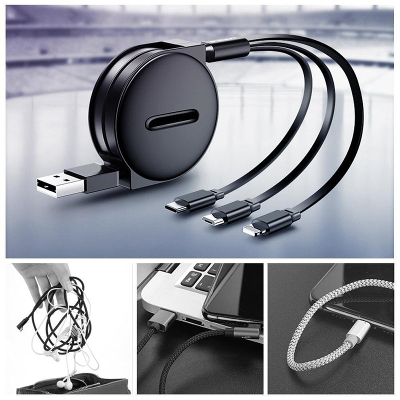 3-1 Retractable charging cable for IOS, Micro and Type-c