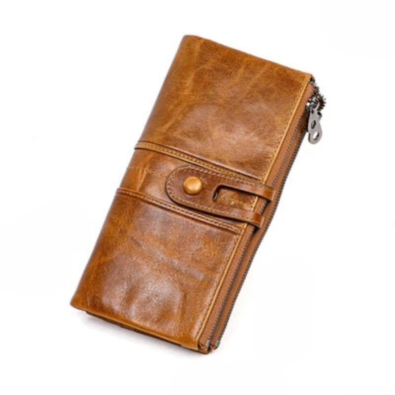 Women Genuine Leather Clutch Long Money Coin Purse