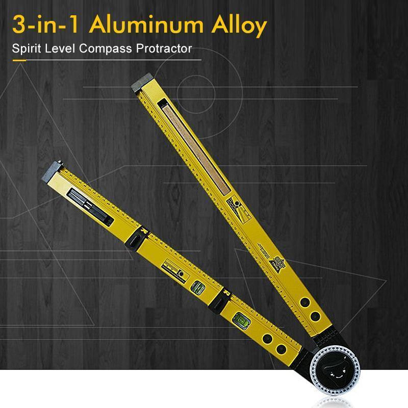 3-in-1 Aluminum Alloy Spirit Level Compass Protractor