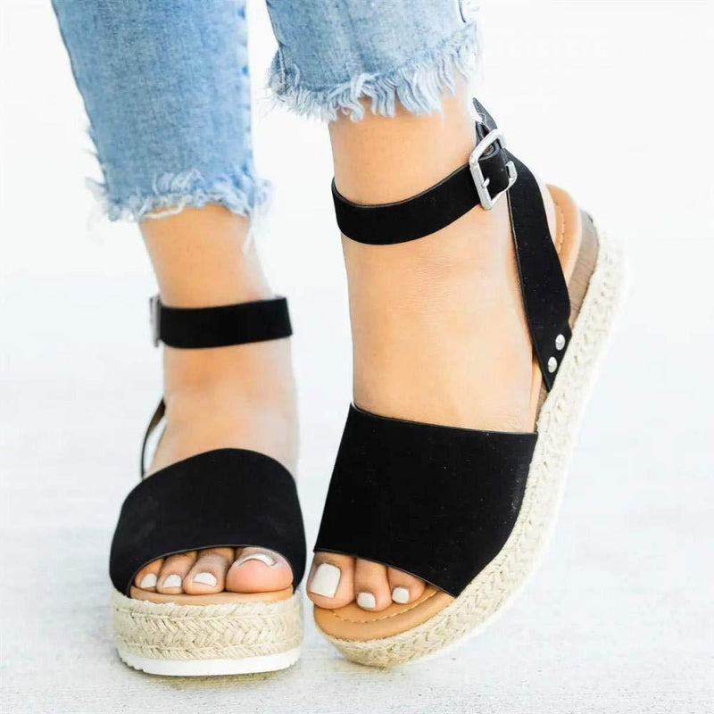 Platform Peep Toe Wedged Sandals